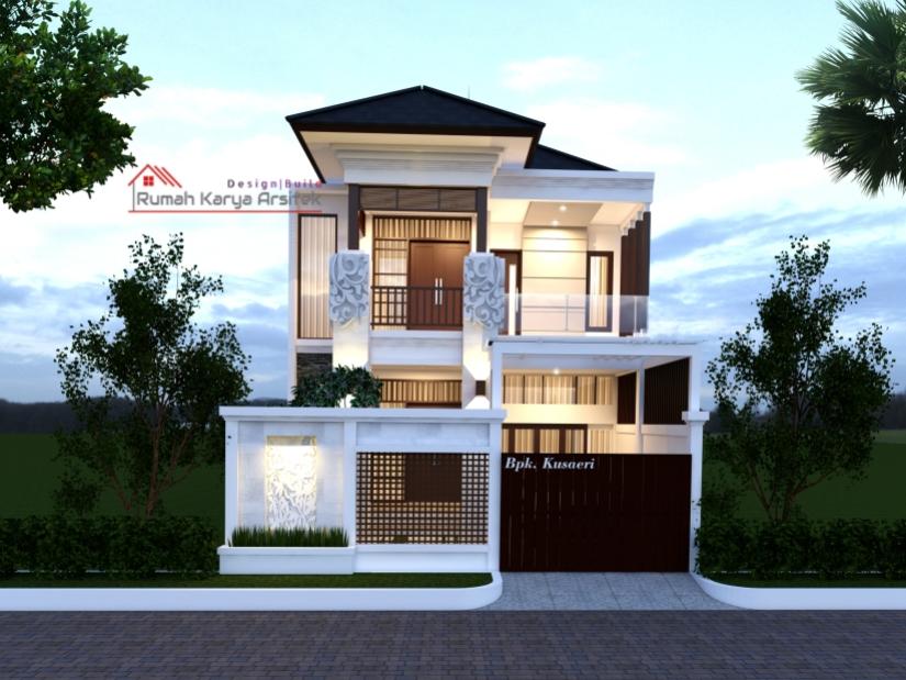 Desain Rumah Bali Tropis Minimalis 2 Lantai Bapak Kusaeri Cirebon Rumah Karya Arsitek